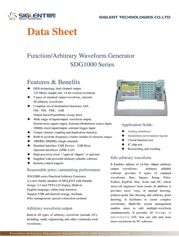 Siglent Sdg1050 50mhz 2 Channel Function Generator Tri Waveform Gewerbe Industrie Wissenschaft