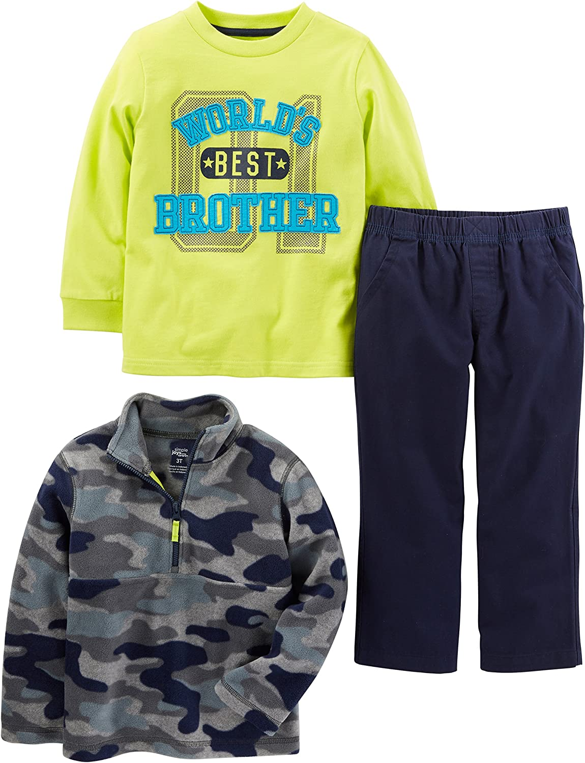 Long-Sleeve Shirt and Woven Pant Playwear Set Simple Joys by Carters Baby and Toddler Boys 3-Piece Fleece Jacket