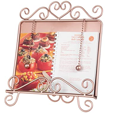 MyGift Vintage Scrollwork Design Rose Gold-Tone Wrought Iron Cookbook Holder Stand