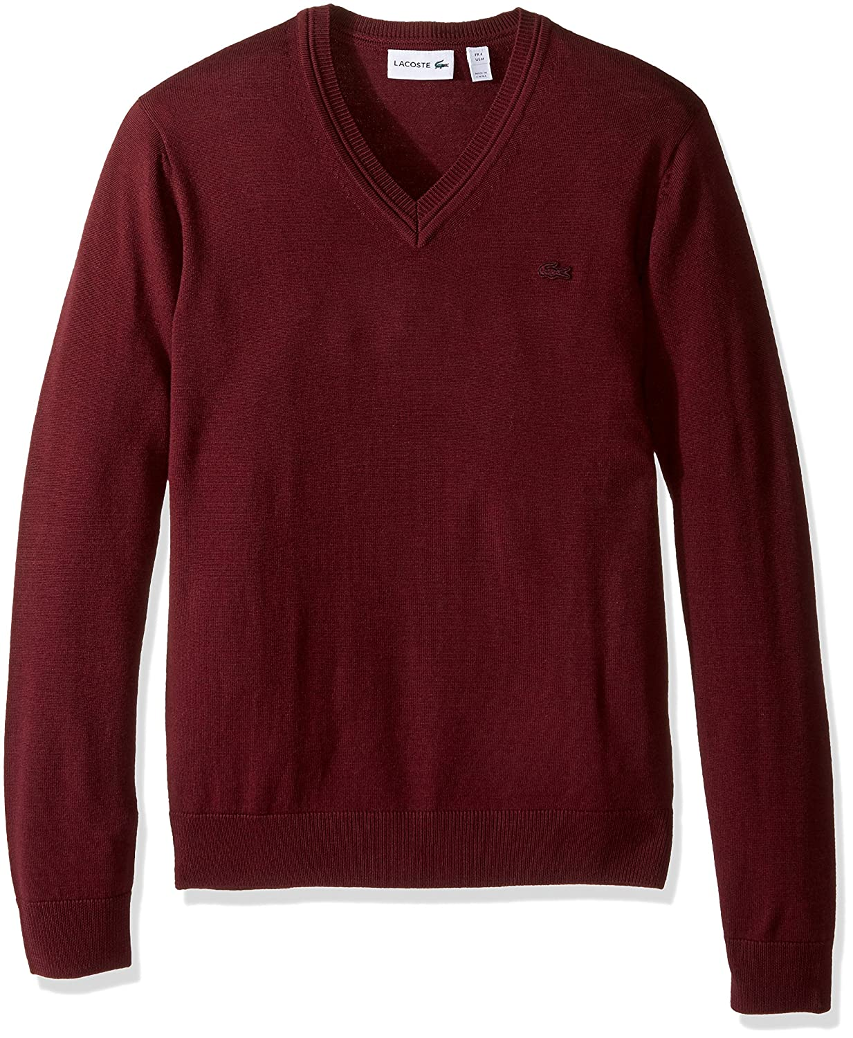 Lacoste Men's 100% Lambswool V Neck Sweater with Tonal Croc at ...