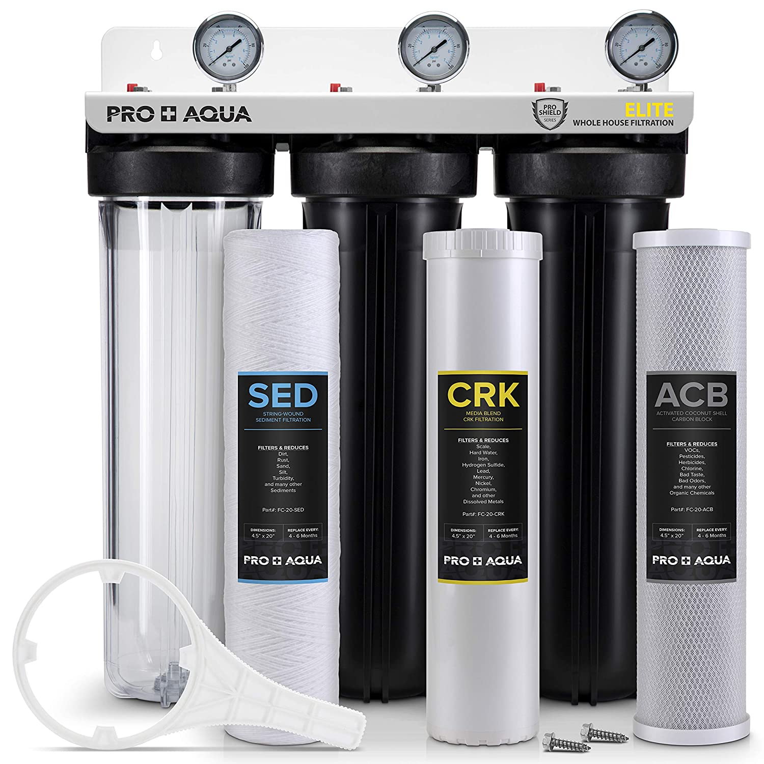 """Pro Aqua ELITE Whole House Water Filter 3 Stage Well Water Filtration System w/Gauges, PR Button, 1"""" Ports, Filter Set"""