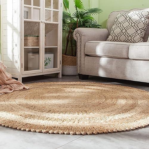 Handmade Indoor Indian Boho-Chic Woven Heavy Jute Area Rug