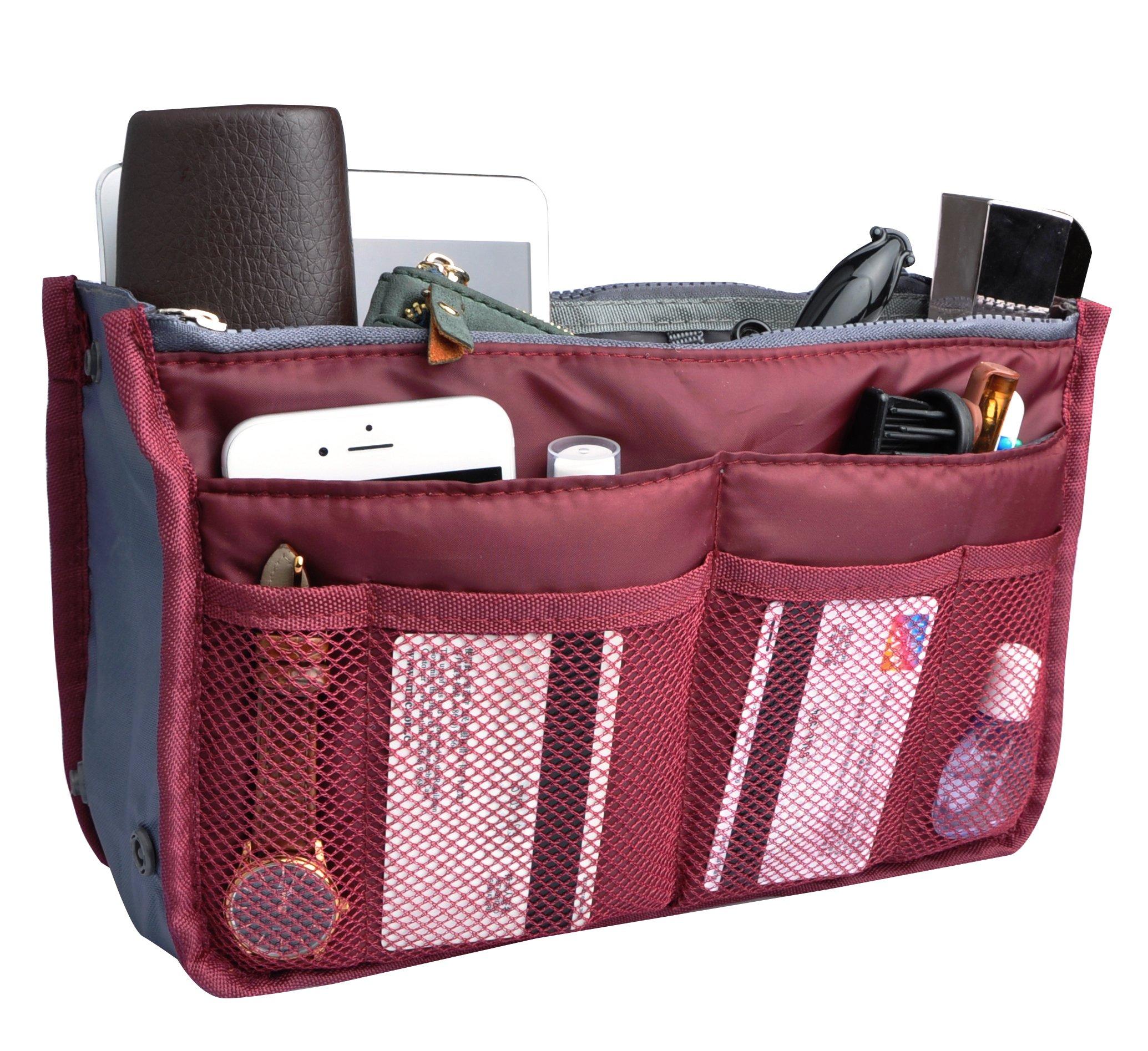 Travel Organizer Bag Multi-pocket Insert Handbag Purse Tidy Bags For Multipurpose Burgundy