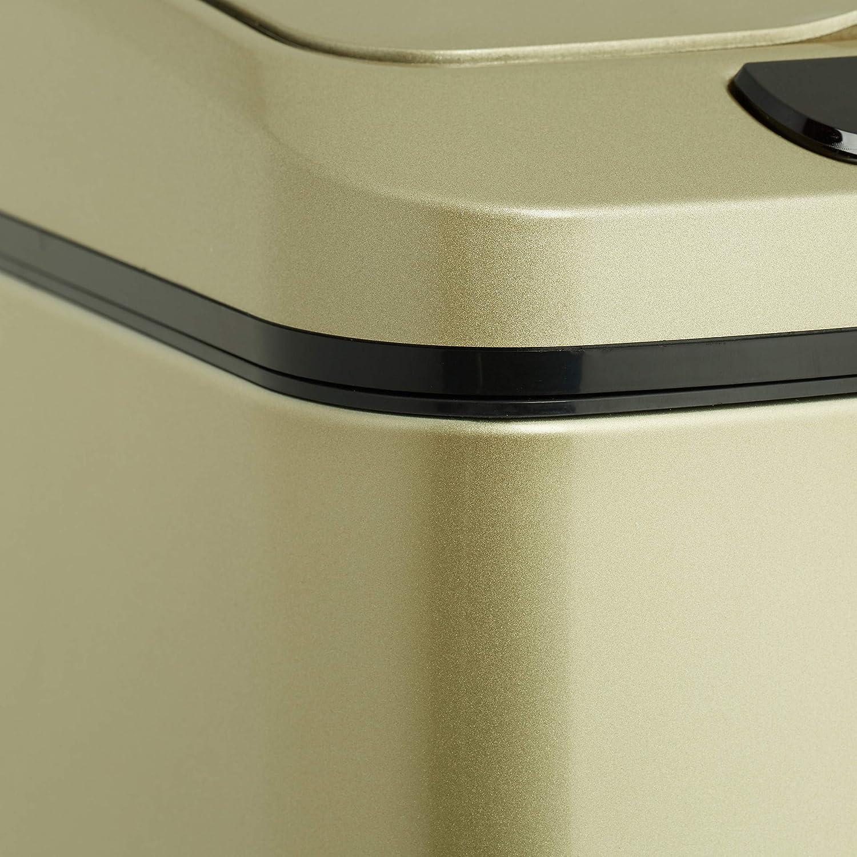 Automatik M/ülleimer gold K/üche /& Bad Relaxdays Sensor M/ülleimer 12l eckiger Abfalleimer mit Deckel /& Inneneimer