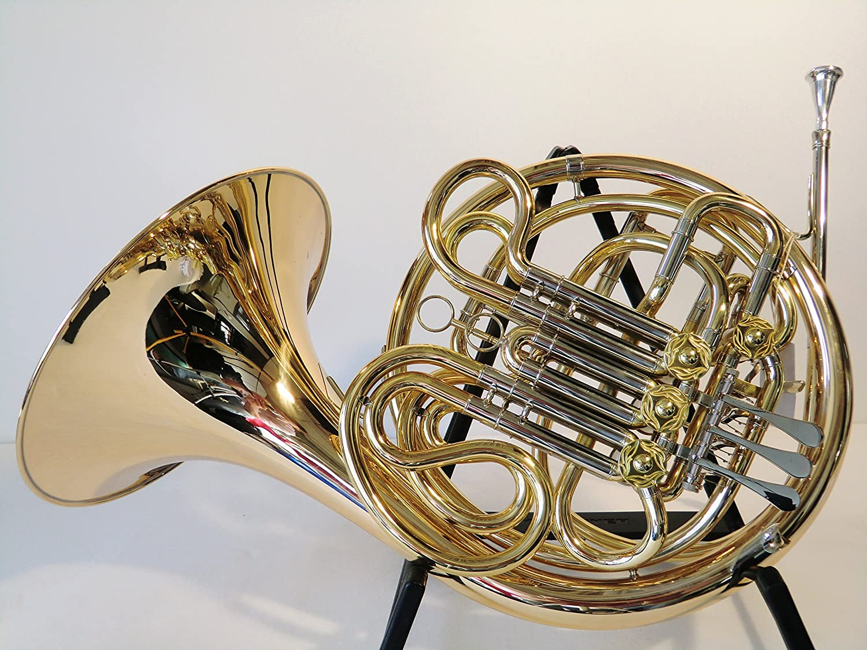 Original SYMPHONIE WESTERWALD Waldhorn/Doppelhorn JS1080 in F/B, Goldmessing, inkl. Luxus-Hartschalenkoffer und Zubehör, Neu