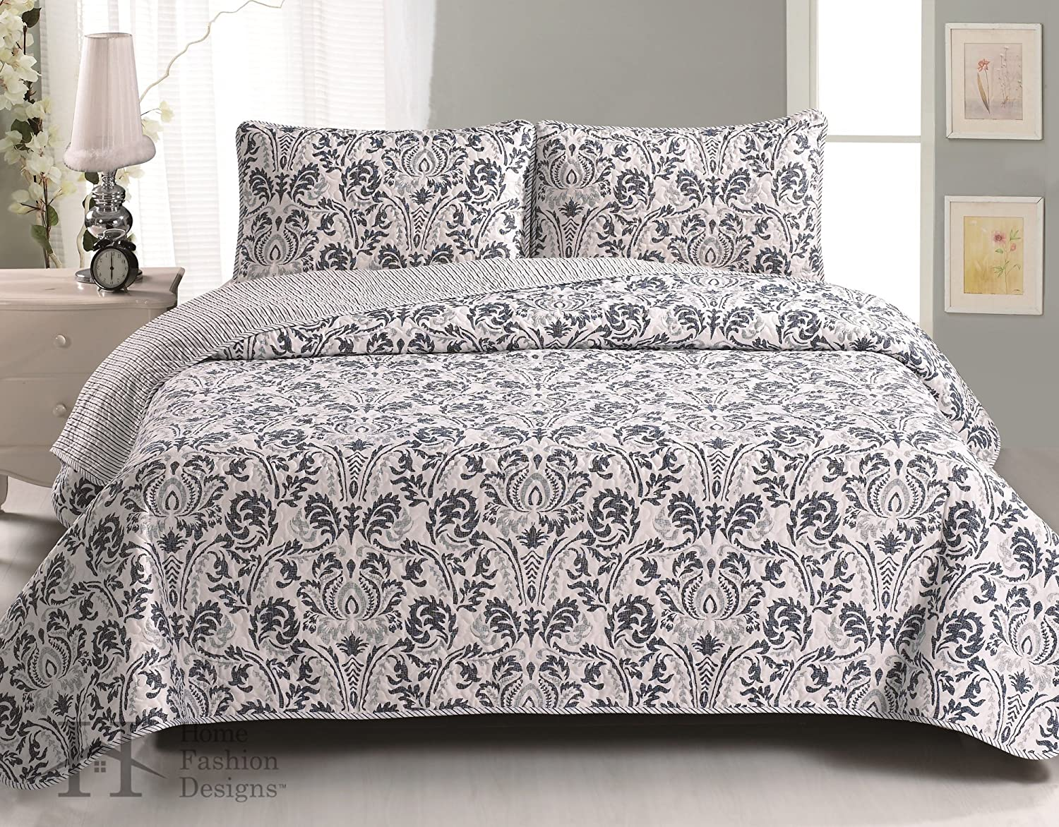 Amazon.com: Martinique Collection 3-Piece Luxury Quilt Set with ... : blue gray quilt - Adamdwight.com