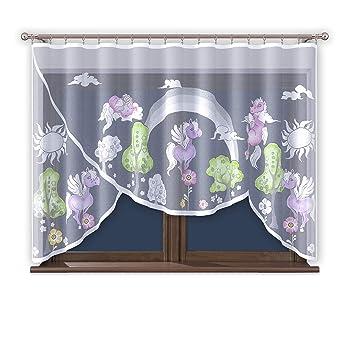 Vorhang Gardine mit Kräuselband Kinderzimmer Kindergardine Junge Weiß 300  cm Extra Breit Motiv Scheibengardine Kurzgardine Transparent Kurz ...