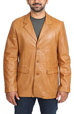 Mens Leather Classic Blazer Suit Jacket Three Button Notched Lapel Carter Tan (Small)