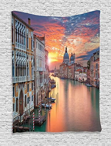 Ambesonne European Tapestry, Grand Canal in Venice Horizon European Town International Heritage Urban Image, Wall Hanging for Bedroom Living Room Dorm Decor, 40 X 60 , Yellow White