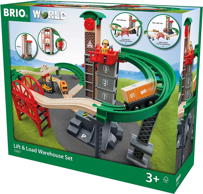 Brio World - 33887 Lift & Load Warehouse Satz   32 Piece Train Toy mit Accessories und Wooden Tracks für Kids Ages 3 und Up