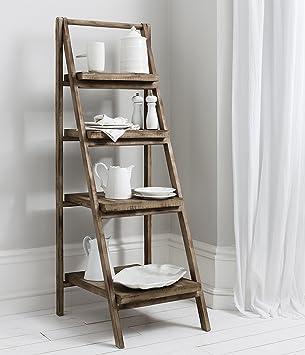 Cartwright Free Standing Rustic Wood Ladder Shelf Storage Unit H63