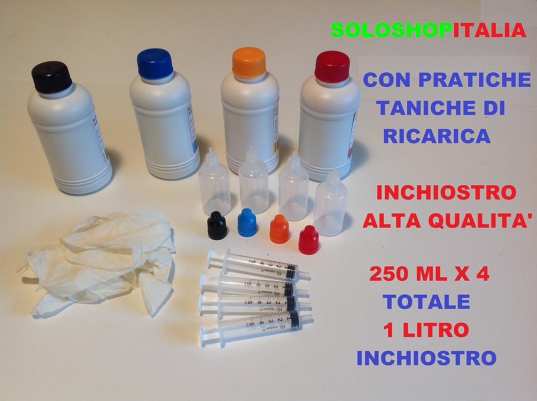 KIT RICARICA CARTUCCE 1 LITRO INCHIOSTRO SPECIFICO PER STAMPANTI EPSON A 4 COLORI 250 ML PER COLORE NERO, CYANO, MAGENTA, GIALLO, PER EPSON SPECIFICO PER TUTTE LE STAMPANTI A 4 COLORI. INKJET ORIGINALE