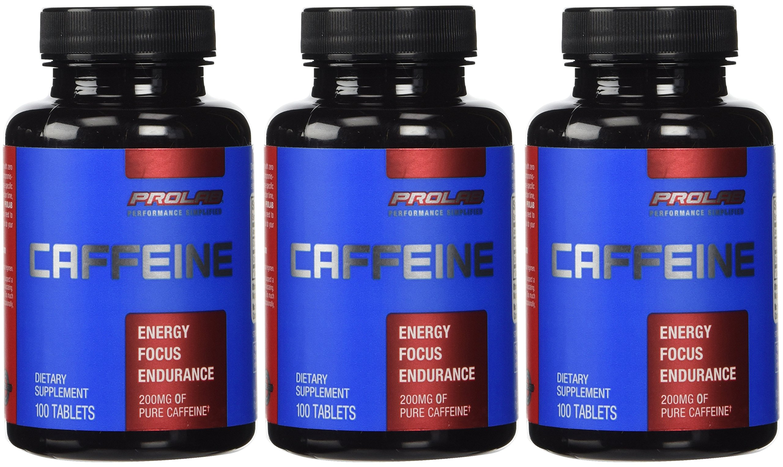 ProLab Caffeine Pills Energy and Focus: (3) 100-Count Bottles (200 mg)