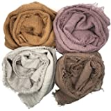 MANSHU 4PCS Women Soft Cotton Hemp Scarf Shawl Long Scarves,Scarf and Wrap,Fancy Stylish Hijab,Big Head Scarves Muslin