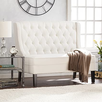 Southern Enterprises Linklea High Back Tufted Settee Bench, Buttercream