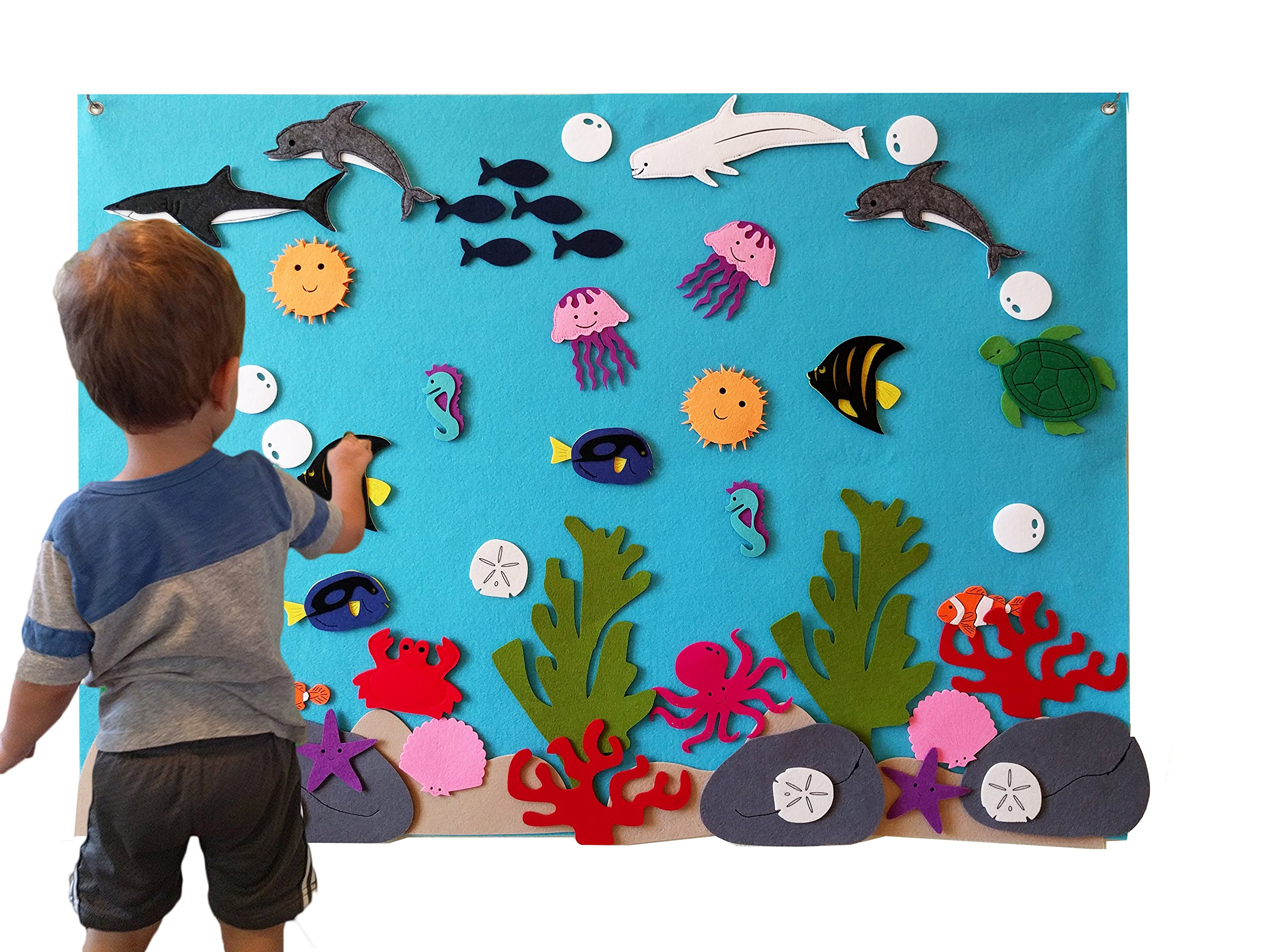 Felt Flannel Board Under The Sea Ocean Aquarium Fish Animals Deluxe Set Giant 3.5 Ft 50+ Pieces Wall Hanging Interactive Play Kit Story DIY Quiet Book No Magnets Needed Montessori Educational Teacher by KTO