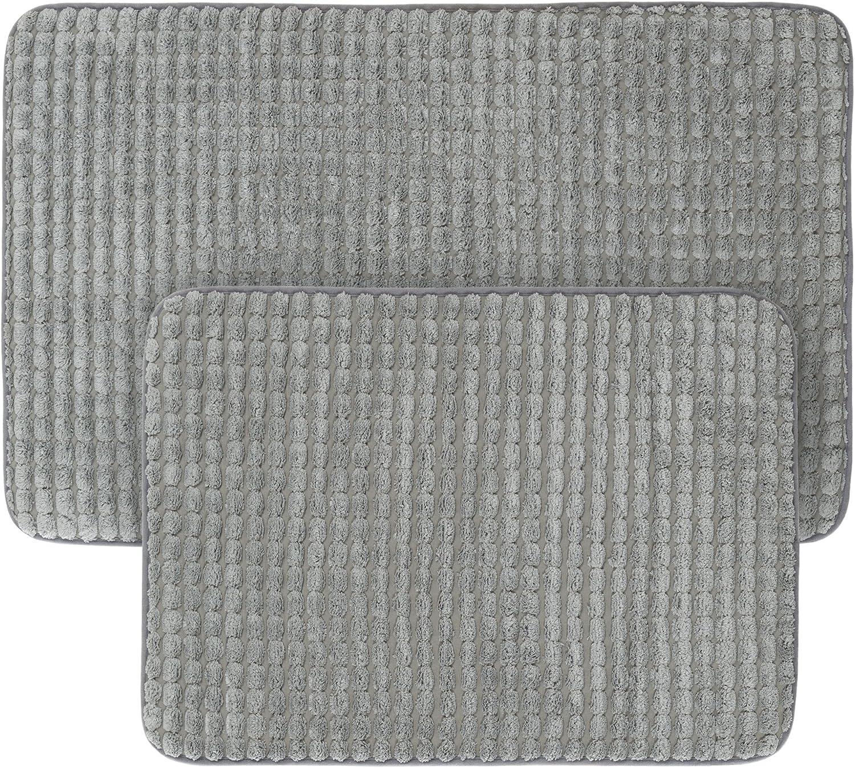 2 pc Memory Foam Bath Mat Set by Bedford Home - Woven Jacquard Fleece - Platinum