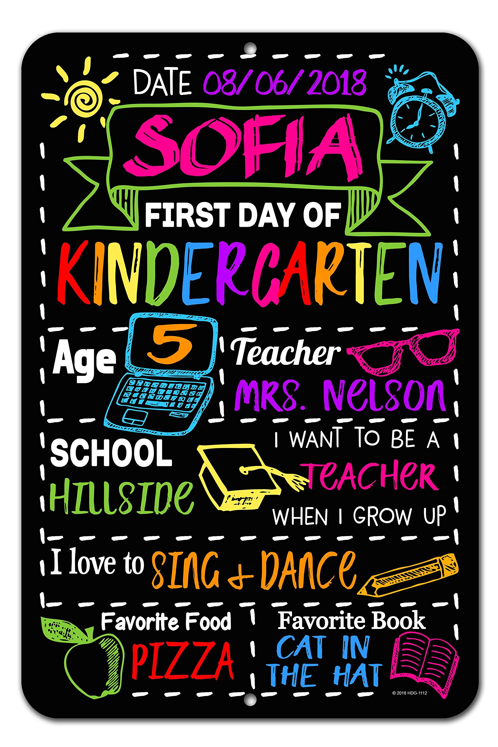 Honey Dew Gifts Large First Day of School Chalkboard Style Photo Prop Tin Sign 12 x 18 inch - Reusable Easy Clean Back to School - Customizable with LIQUID CHALK MARKERS (Not Included)
