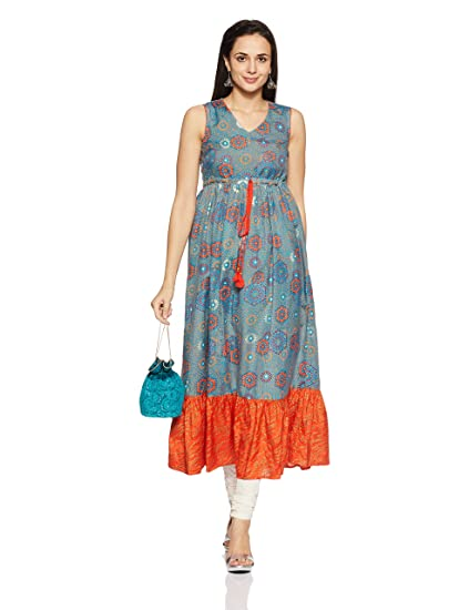 86e9dcd2e61 Akkriti By Pantaloons Women s A-Line Kurta  Amazon.in  Clothing ...