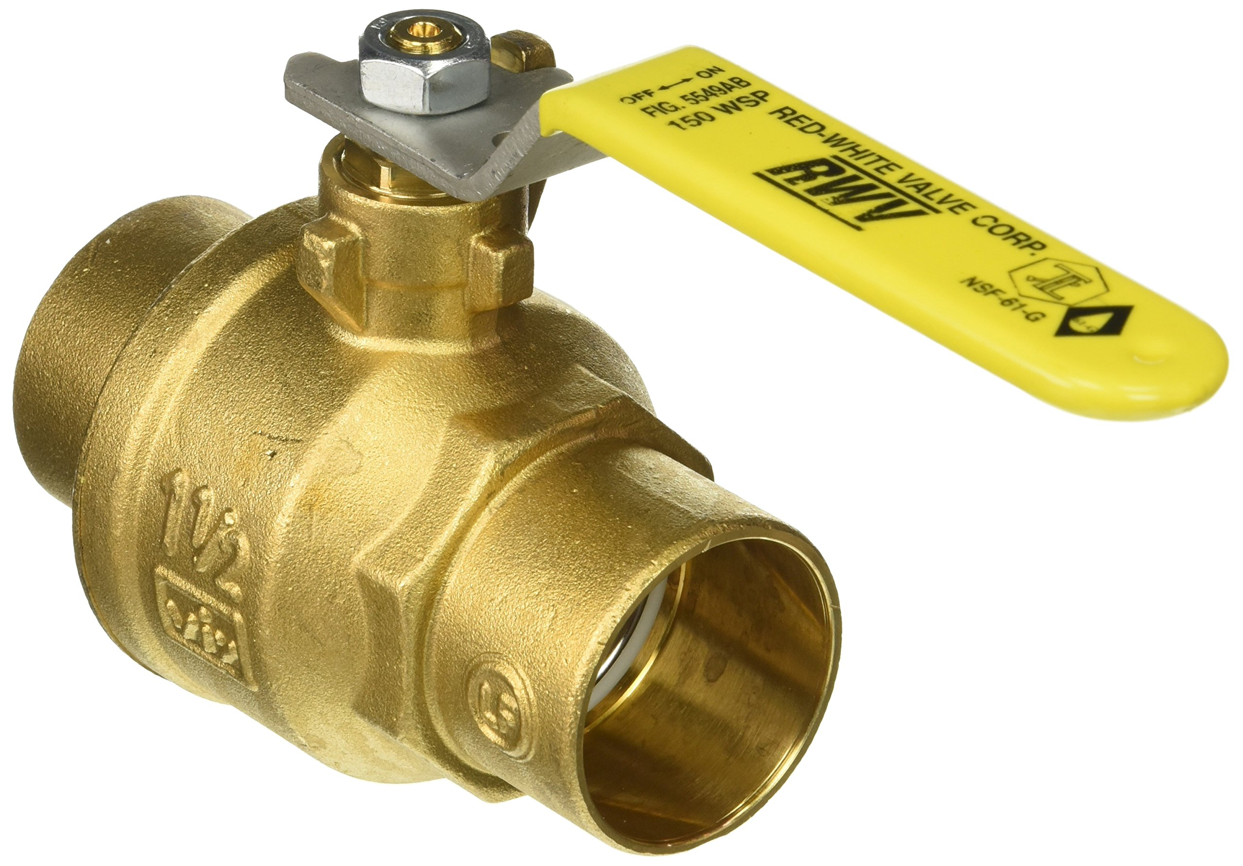Red-White Valve 112RW5549AB Lead Free Commercial Full Port Ball Valve with Solder Ends (2 Piece), 1 1/2''