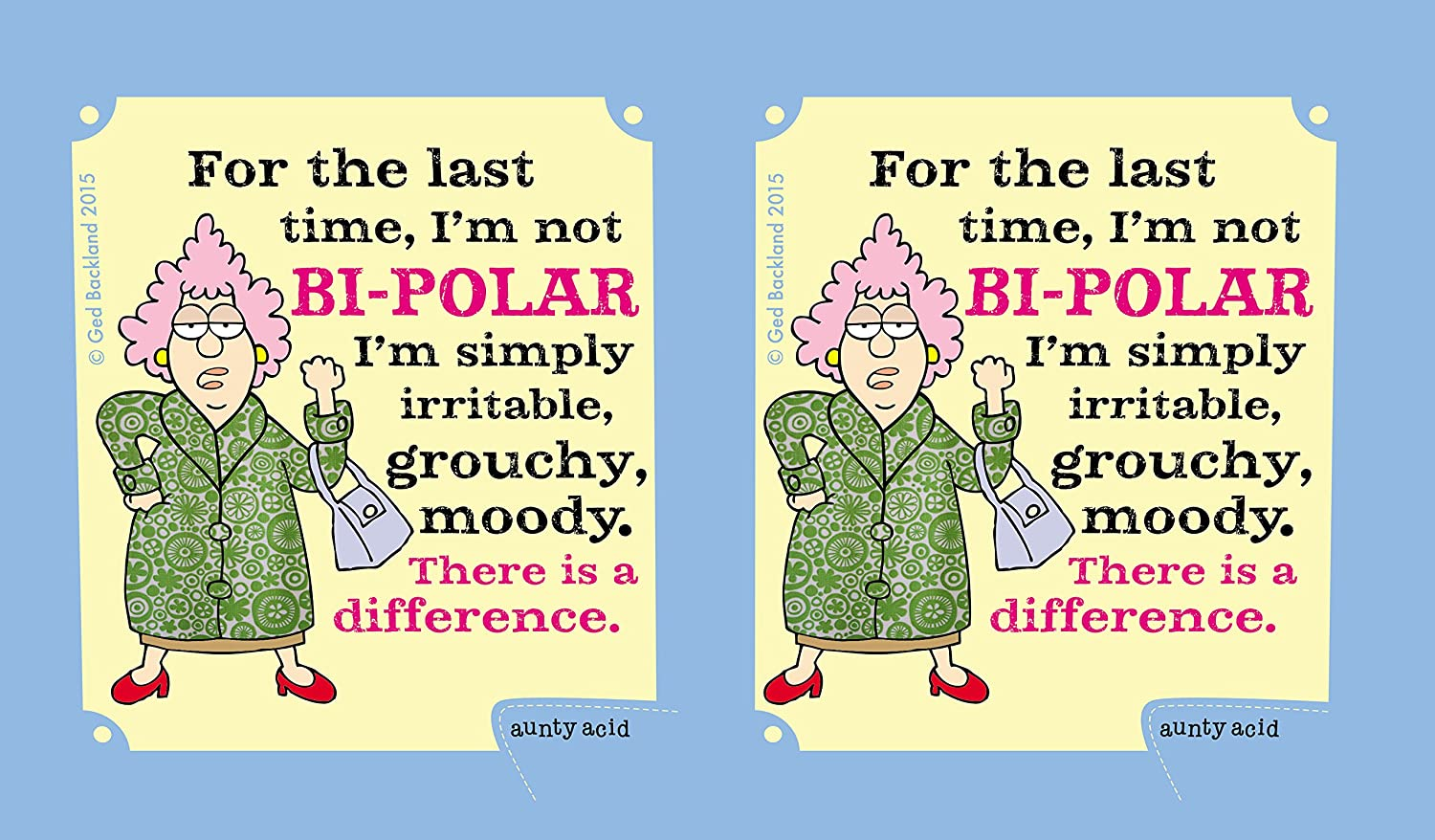 Tree-Free Greetings 16-Ounce Double-Walled Cool Cup with Reusable Straw CC98628 Aunty Acid Idiotitis
