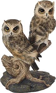 Sunnydaze Watchful Owls Garden Statue - Indoor/Outdoor Yard Art Decor - Birds Lawn Ornament - Backyard and Patio Animal Sculpture - Horned Owl Decoration - 13-Inch