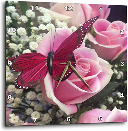13 by 13 3dRose DPP/_212337/_2 Image of a Pink Butterfly Wall Clock