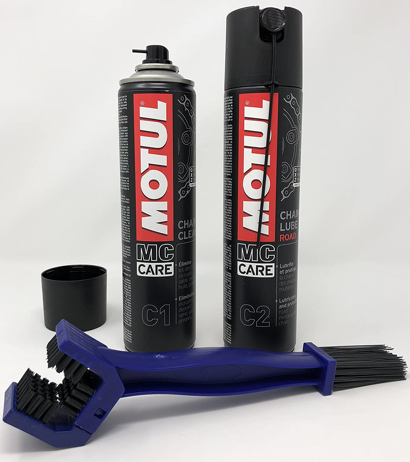 MOTUL C1+C2 ON ROAD CHAIN CARE KIT, INCUDING-- C2 CHAIN LUBE, C1 CLEANER, AND CHAIN CLEANING BRUSH (IN BLUE OR BLACK) CMS MOTUL