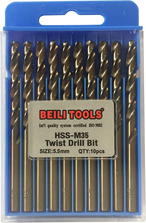 Aluminium Acier Inoxydable 10pcs 3.2 mm 1//8 Pouces M35 Cobalt Drill Bit Pour Métal
