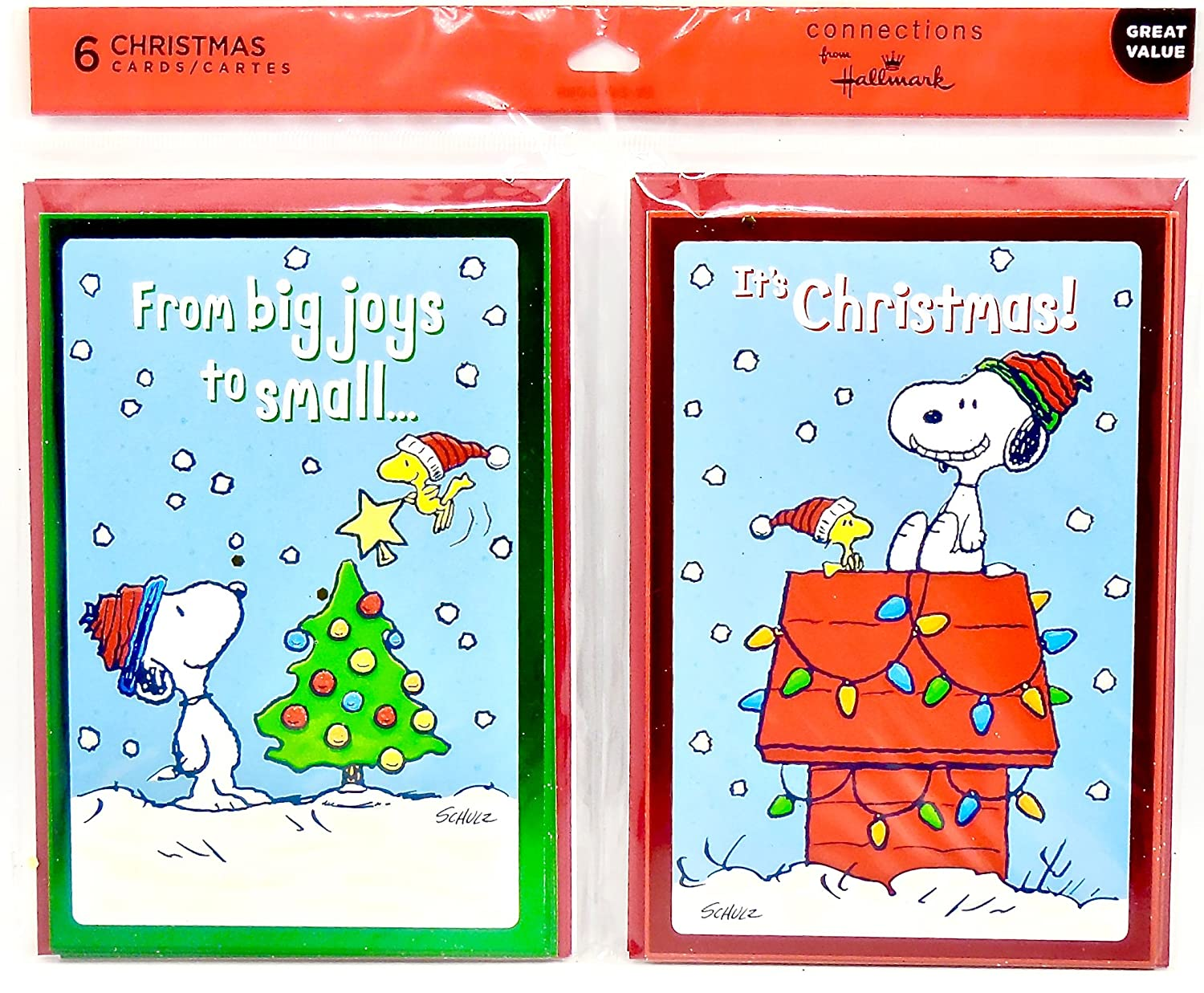 Snoopy Christmas Cards.Christmas Snoopy Greeting Cards 6 Cards Envelopes
