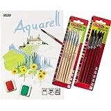 Herlitz 495457 Aquarellpapier, Aquarellkarton, A4, 150 g/qm, 20 Blatt / Kombi-Set (3 Blöcke + 12 Haarpinsel + 15 Borstenpinsel)