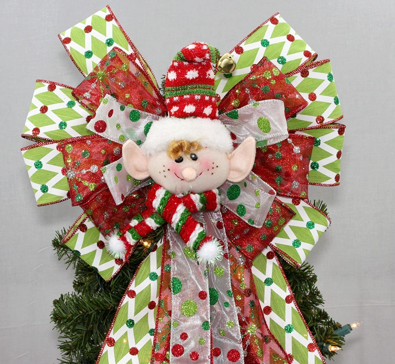 Festive Elf Christmas Tree Topper Bow - 13