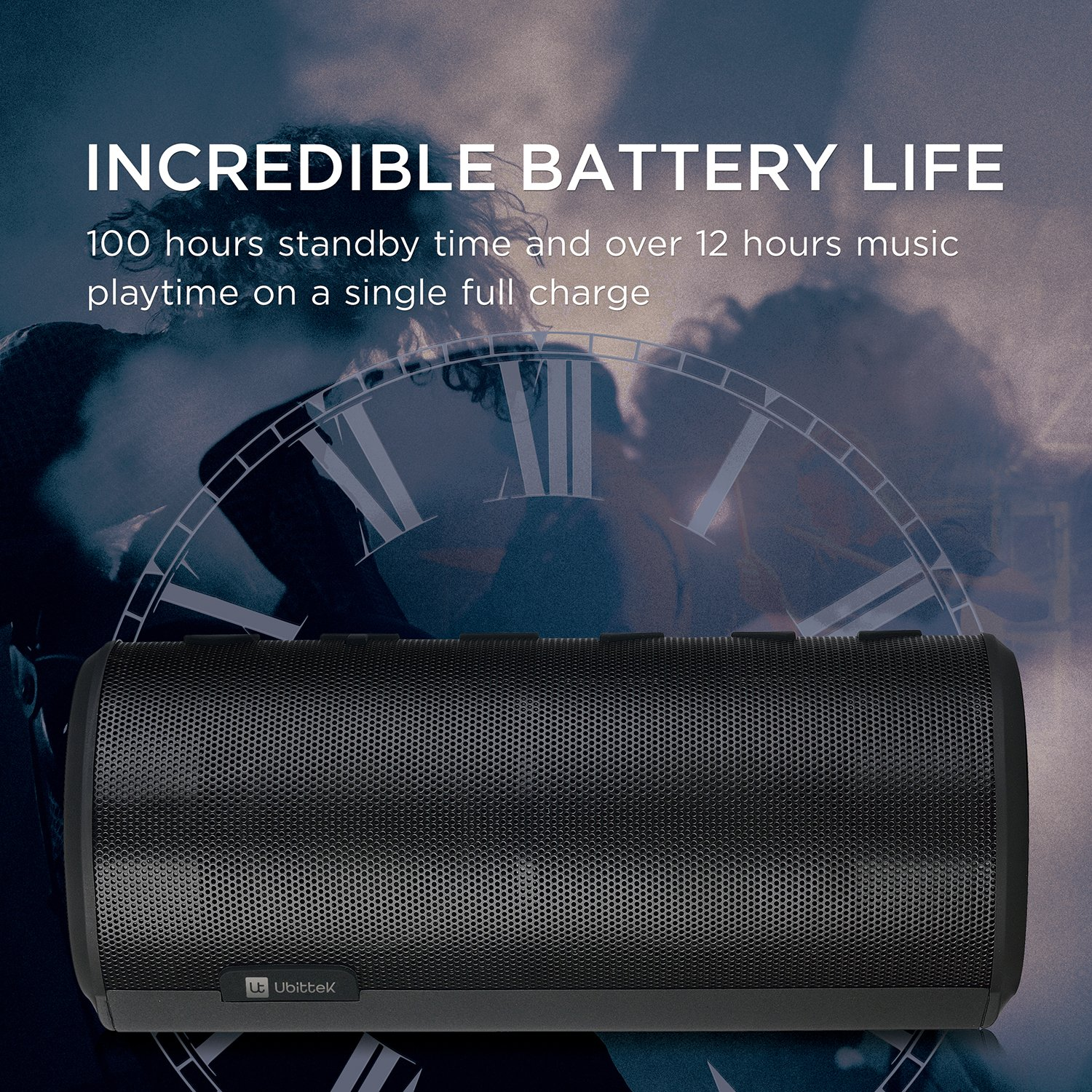 Ubittek 20w Wireless Bluetooth Speaker With Ultra Bass Enhancement Magic Jack Wiring Diagram 360 Degree Surround Sound Over 12 Hours Playtime And Hands Free Call