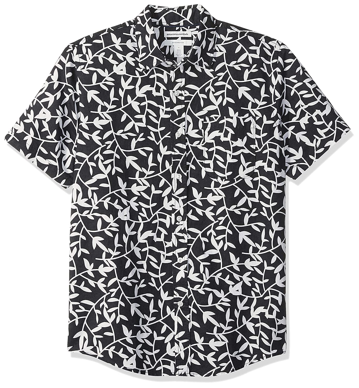 Essentials Mens Slim-Fit Short-Sleeve Linen Cotton Shirt