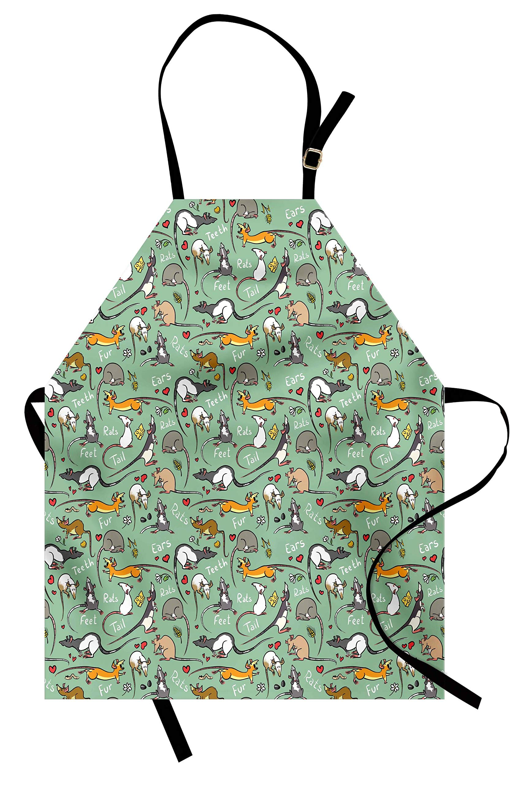 Lunarable Animals Apron, Cute Cartoon Rats with Hearts Tail Teeth Feet and Ears Lettering Urban Wildlife, Unisex Kitchen Bib Apron with Adjustable Neck for Cooking Baking Gardening, Multicolor