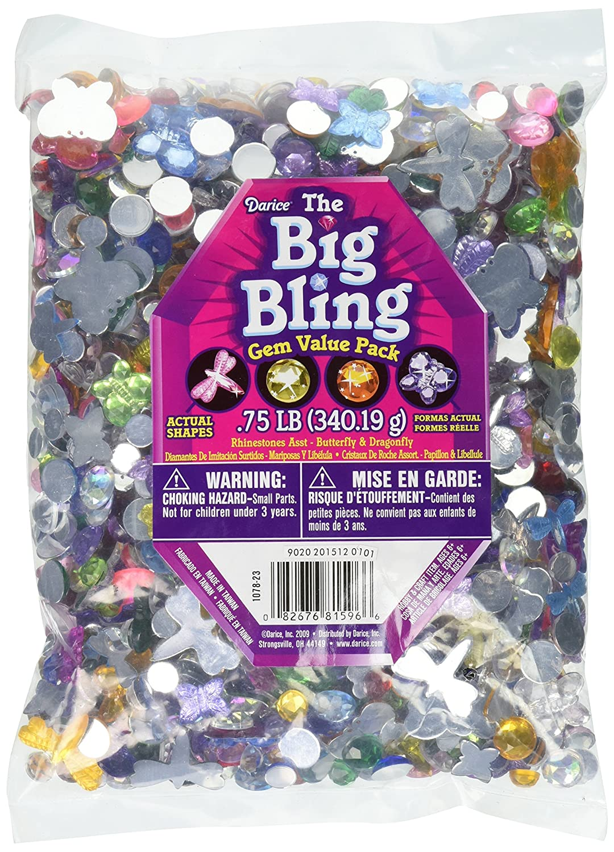Darice 1078-23 Big Bling Shapes Gem Value Pack Rhinestone, Multicolor