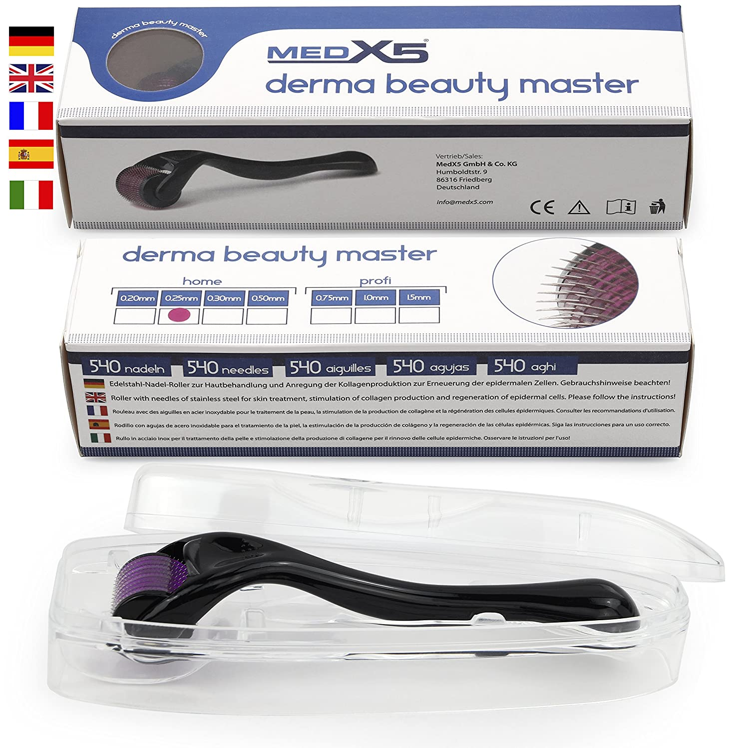 MedX5 1,5 mm Dermaroller (stainless steel needles), Derma roller against deep scars and severe cellulite, Medical Device Class I