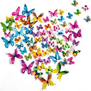 PGFUN 72 PCS 3D Butterfly Wall Decor Luminous Stickers Art Decals Crafts for Home and Room Decorations (6 Colors)