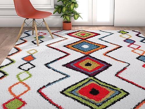 Modern Primitive Diamond Multi Moroccan Tribal Medallion Shag 4 x 6 3'11″ x 5'3″ Area Rug Plush Modern Bohemian Carpet