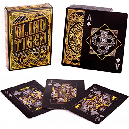 Brybelly 6 Decks Blind Tiger Prohibition & Speakeasy Themed Playing Cards | Black Playing Cards & Gold Accents | Custom Card Deck | Plastic-Coated ...