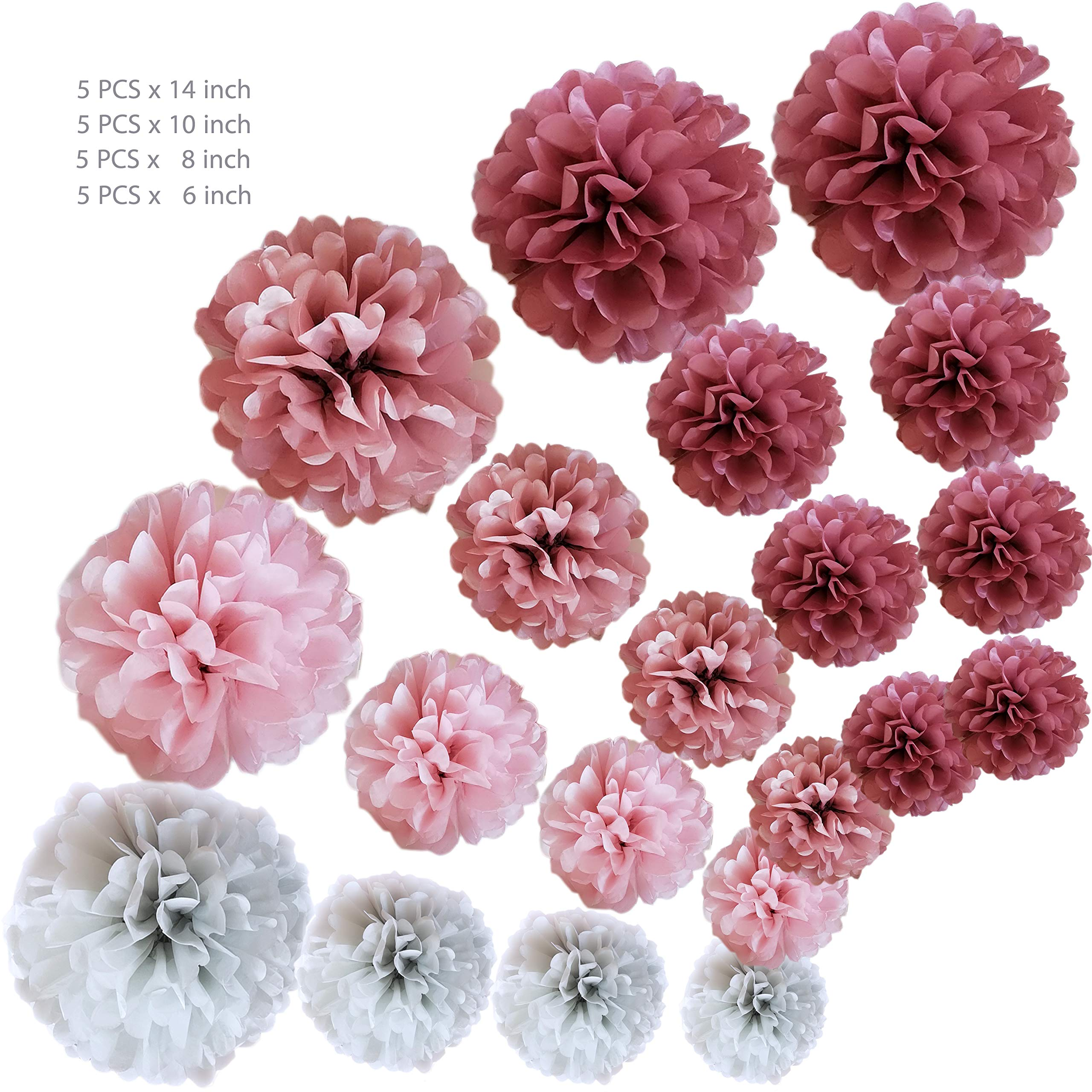 VINANT 20 PCS Tissue Paper Pom Poms - Paper Flower - Party Decoration for Birthday Party - Baby Shower - Bridal Shower - Wedding - Bachelorette - Dusty Rose, Mauve, Blush Pink, Grey - 14'', 10'', 8'', 6'' by VINANT (Image #5)