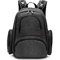 CoolBELL Baby Diaper Backpack With Insulated Pockets / Large Size Water-resistant Baby Bag / Multi-functional Travel Knapsack Include Changing Pad (Black)