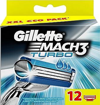 Gillette Mach 3 Turbo Cuchillas de Recambio para Maquinilla de ...