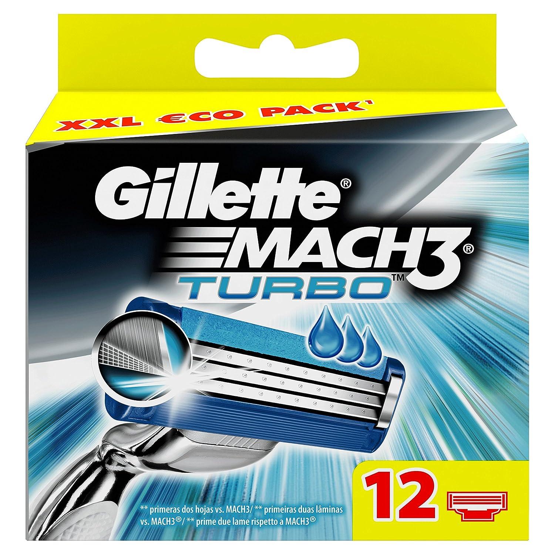 Gillette Mach3 Turbo - Pack de recambios de hojas de afeitar para hombre, 12 unidades Procter & Gamble Fusion Maquinilla ProGlide