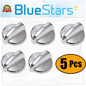 Ultra Durable WB03T10284 Range Infinite Knob Replacement Part Stainless Steel Finish by Blue Stars - Exact Fit For General Electric Ranges - Replaces 1373043 AP4346312 - PACK OF 5