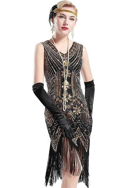 ArtiDeco Años 20 Estilo Vintaje Vestido con Cuello en V Gatsby Disfraz Vestido con Flecos de