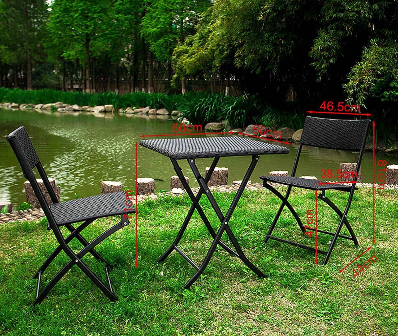 SoBuy® OGT02 - Lot de 1 table 2 chaises pliables Meuble bistrot bar ...