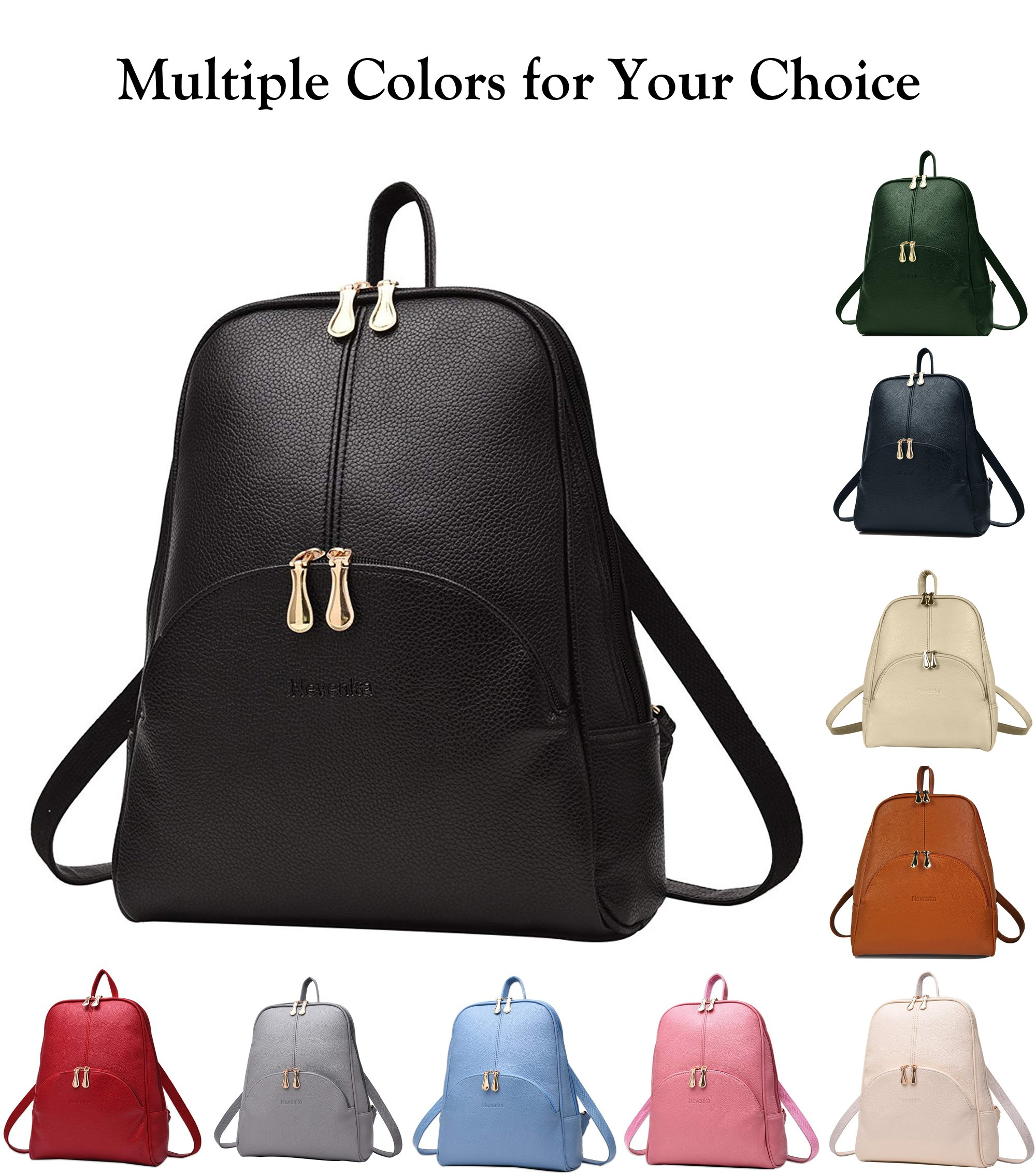 Nevenka Brand Women Bags Backpack Purse PU Leather Zipper Bags Casual Backpacks Shoulder Bags (Autumn Maple) by Nevenka (Image #7)