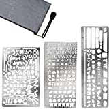 Gimars Upgrade 3 Grinding and Polishing Large Hole Stainless Steel Paint Stencils Drawing Templates Scale Ruler with Not Sharp Edge for Bullet Journal, Planner, Scrapbooking, Card and Craft Projects