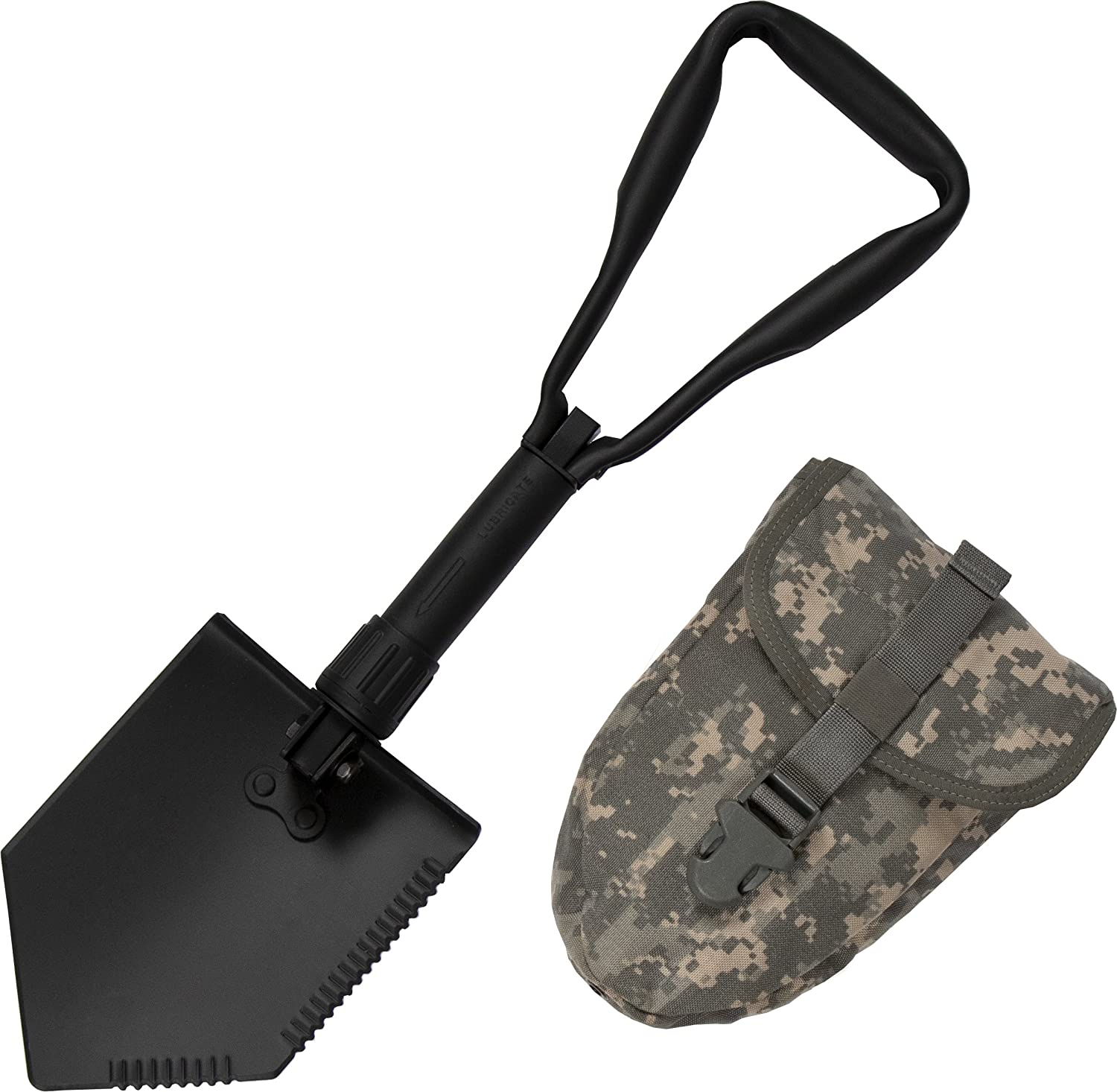 US Military Original Issue E-Tool Entrenching Shovel with ACU OR MultiCam Carrying Case Pouch